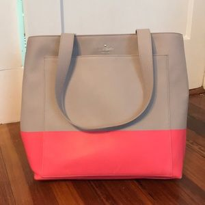 Kate spade large gray and pink tote